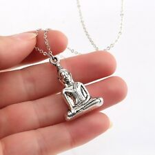 """Tibetan Silver Buddha Charms Pendant Necklace Silver Chains For Women Girl 17"""""""