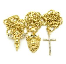 "Micro Baby Angel, Lion Head, Cross Pendant 24"" Ball Hip Hop Chain Necklace Set"