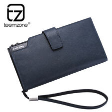 Real Leather Mens Clutch Wallet Wrist Handbag Checkbook Organizer Card Holder