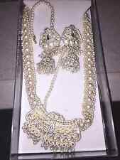 Traditional Indian Costume Jewelry Set (Silver with pearls)