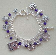 Pentagram Sun Moon Purple Amethyst 13 Charm Bracelet Wicca Pagan Witch