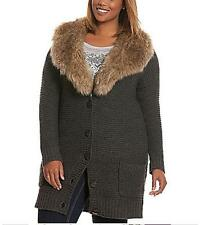 LANE BRYANT SWEATER COAT WITH FAUX FUR 3X 26-28 LONG CARDIGAN GRAY GREY