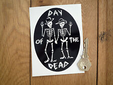 "DAY OF THE DEAD Skeleton Oval STICKER 5"" Mexican Rockabilly Día de Muertos Skull"
