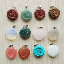 Beautiful Carved Mixed natural Stone rose charms Pendant Beads 12pcs/lot free