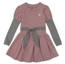 Boutique No Added Sugar Pink & Gray Rabbit Delobel Dress 5 6 7 8