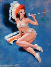 1940s Pin-Up Girl Peace Pipe Picture Poster Print Art Pin Up