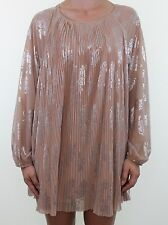 TOPSHOP nude pink silver floral print pleated silk feel tunic dress size 14 peti
