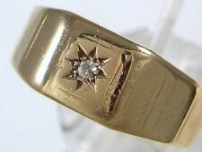 Antique 9ct Gold Diamond Set Chester H'm Mans Wedding or Signet Ring dated 1935