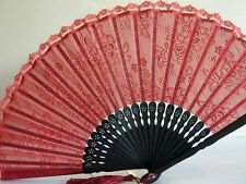 High Quality Japanese Folding Clear Hand Lace Dance Flower Bamboo Pocket Fan Red