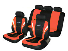 FIAT STILO Universal SPORTS Fabric Car Seat Covers in BLACK & CORAL PINK