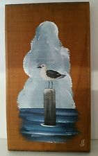 HAND PAINTED SEAGULL ON PIER  JOYCE LANGELIER DESIGNS WOOD WALL PLAQUE