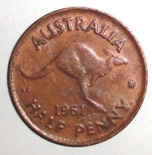 1961 Australia half penny, Kangaroo, animal wildlife coin