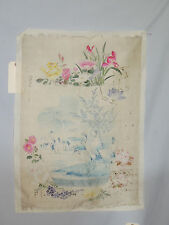 1800's to  1900's Japanese Painting on Silk / Flowers in Vase w Cranes