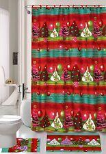 15 Piece Christmas Tree Theme shower curtain Set