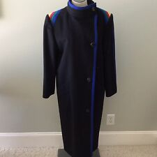 Louis Feraud 8 Long Coat Black Royal blue Yellow Yellow Green Trim Lined