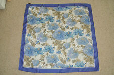 LIBERTY OF LONDON VINTAGE SILK SCARF BEAUTIFUL BLUE CREAM FLORAL EXCELLENT COND