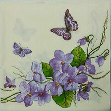 VIOLET FLOWERS & BUTTERFLIES  2 single LUNCH  paper napkins for decoupage 3-ply