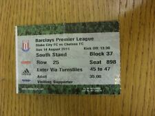 14/08/2011 Ticket: Stoke City v Chelsea  (folded). Thanks for viewing this item,
