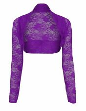Womens Ladies Cropped Lace Shrug Ladies Bolero Plus Size Cardigan Top Size 8-26