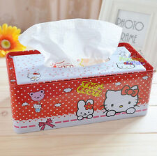 Cute Metal Hello Kitty Bedroom Bathroom Car Tissue Kleenex Box Cover Holder