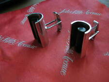 c. 1952 early SIGI PINEDA marked PLATEROS TAXCO Cuff Links w/ OBSIDIAN RODS