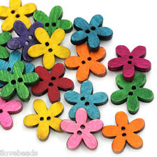 "100PCs Wood Sewing Buttons Scrapbooking Flower 2Holes Mixed 6/8""x 6/8"""