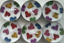 6 Henna & Glitter Heart Design - Light Citrus & Jasmine Scented Tea Lights