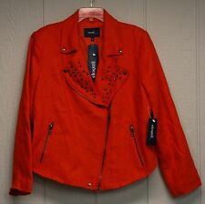 b48c LADIES ELOQUII STUDDED JACKET BY THE LIMITED SZ 16W, RED/ORANGE NWT