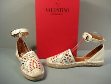 Valentino Beige Embroidered Ankle Strap Espadrilles Slippers Flats Shoes 37 New