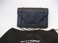 """Saint Laurent Black """"Grain De Poudre"""" Leather Medium """"Betty"""" Chain Shoulder Bag"""