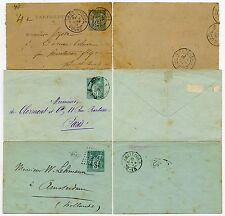 FRANCE POSTAL STATIONERY USED 5c ENV x 2 + 15c LETTERCARD 1884-91 HOLLAND +YONNE
