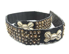 Black Seed Bead Belt with Coconut Beads & Cowrie Shells, 33-inch (4.5cm wide)