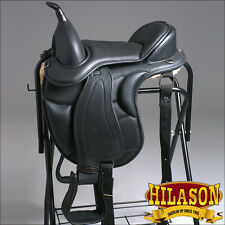 "TE101-16"" HILASON WESTERN TREELESS ENDURANCE TRAIL PLEASURE LEATHER HORSE SADDLE"