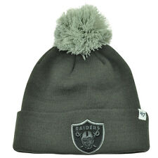 NFL '47 Brand Oakland Raiders Justus Charcoal Pom Cuffed Knit Beanie Skully Hat