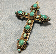 Victorian Gilt 800 Silver Austro-Hungarian Turquoise pearl Pendant Budapest 1890