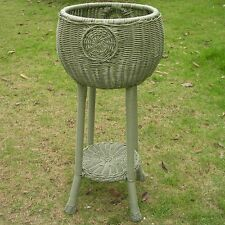 International Caravan Round Resin Wicker Plant Stand, Moss