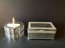 Set 2 Vtg Solid Silverplate Rectangular Footed & Oval Jewlery Trinket Boxes