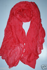 ladies Women Pure Candy Long Crinkle Scarf Wrap Voile Wraps Shawl watermelon red
