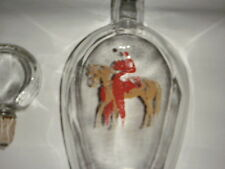 OWENS ILLINOIS GLASS HORSERACING DECANTER LIQUOR BOTTLE HOLLOW STOPPER 1954  RED