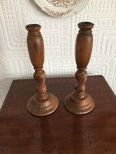 Nice Old Pair Of Wooden Candlesticks With Twist Bodies
