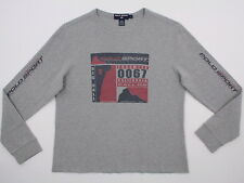 Vtg Ralph Lauren Polo Sport L/S Thermal Pullover Suicide Big Wall GRAY Large