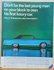 1964 magazine ad for Rambler - Colorful blue Ambassador, Your first Luxury car
