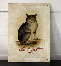 Le Chat vintage french tabby cat shabby chic A4 metal sign plaque picture