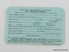 Rock Island Lines Time Inspection Service Card Out of Estate