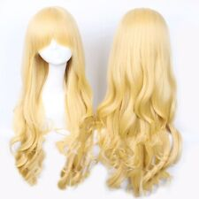 """NEW Anime Wig 32"""" Blonde Curly Wavy Heat Resistant Halloween Cosplay Costume"""