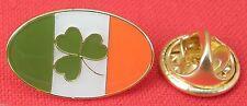 Oval Ireland Flag & Shamrock Lapel Pin Badge Brooch Irish Republic