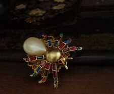 Vintage Baguette Ruby Red, Emerald Green & Amethyst Crystal Spider Insect Brooch