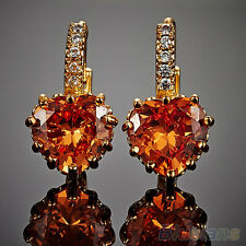 New Arrival! Women Engagement Smoky 9K Gold Plated Rhinestone Leverback Earrings