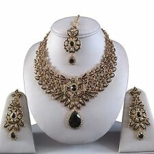 BLACK GOLD INDIAN COSTUME JEWELLERY NECKLACE EARRINGS DIAMOND SET BRIDAL NEW