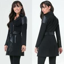 BEBE BLACK LEATHERETTE CONTRAST TRIM TRENCH JACKET COAT NWT NEW $189 SMALL S